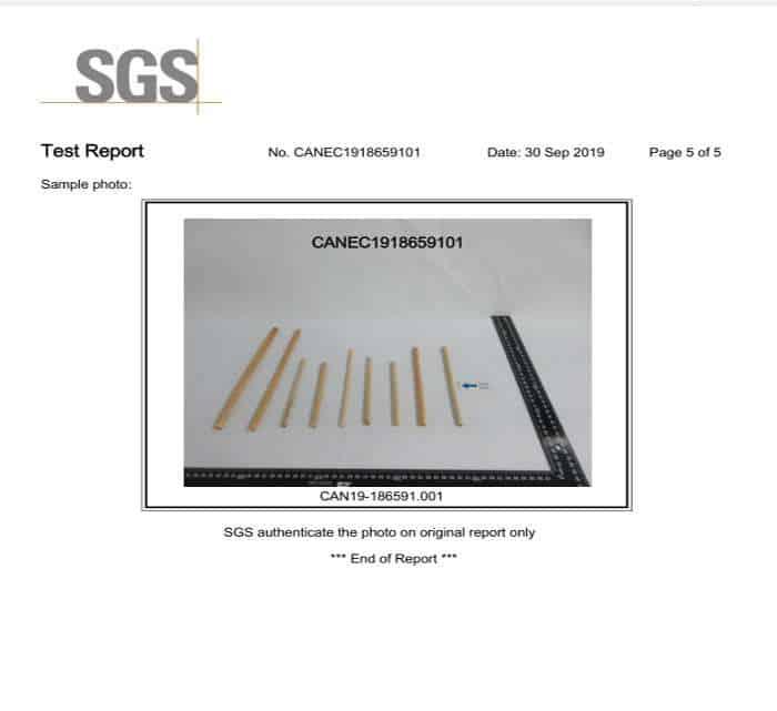 reed straws SGS Test